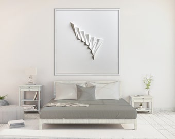 Living room art Wall Hanging - Home Office - Abstract Mini Wall Sculpture Decor Object - White Paper Relief - Modern-by Kubo Novak-Pleat1