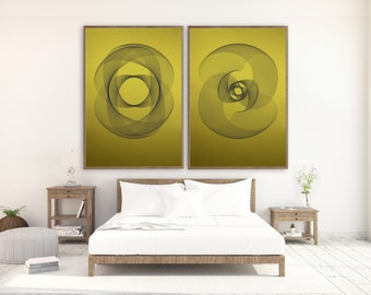 LARGE ABSTRACT PRINTS set of 2 pieces on shiny golden paper designed by kubo novak