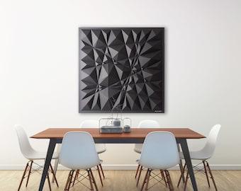 Black Geometric Art-White Paper Relief-Modern Minimal Sculpture-Abstract Wall Decor-By Kubo Novak-Original-Sketch-S88