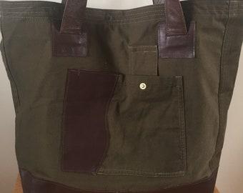 Upcycled and Handmade, Fabric Bag, Leather Bag, Shoulder Bag,Khaki Colour, Tote Bag, Every Day Bag
