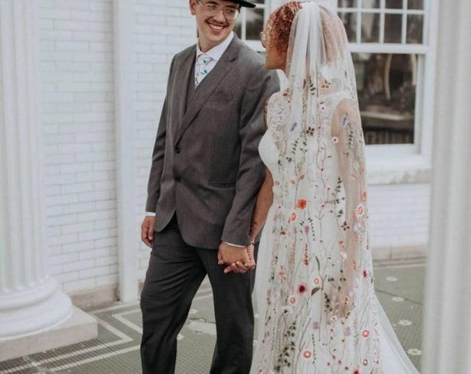 Flower veil, Floral veil ,secret garden veil, boho veil,  wild flower veil, embroidered veil, flower and fawna, romantic veil,bridal veil
