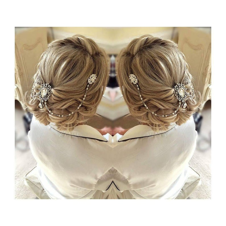 Bridal Triple Hair Comb Drape Diamante Rhinestone Vintage Gatsby hair piece SALE