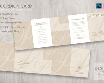 Accordion Card 10-Panel 3.5x5.5 (Portraits) - Template for ID & PSD CS4 - CC