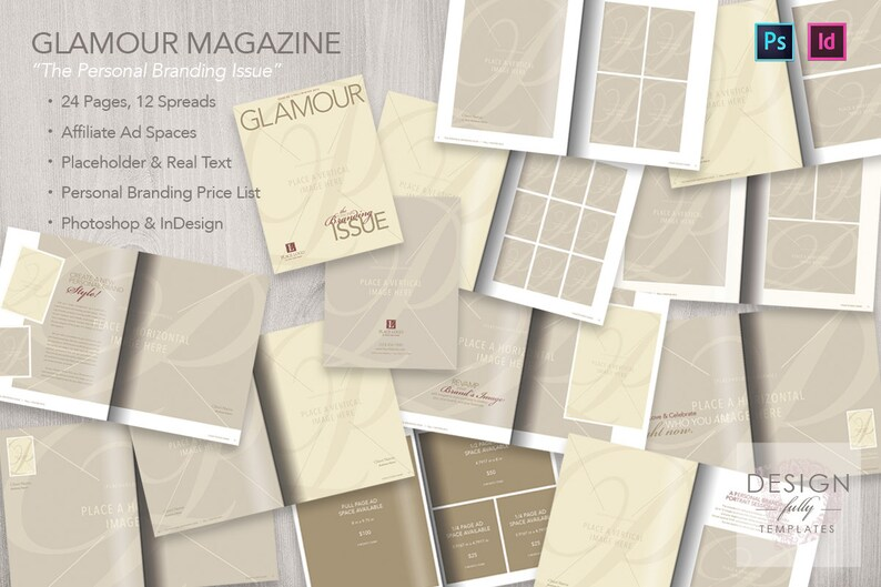 Personal Branding Magazine for Glamour Portaiture (Text Included) -  Template for Adobe ID & PSD CS4-CC