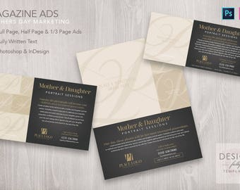 Magazine Ads for Mothers Day Marketing (3 Sizes) - Template for ID CS4up & PSD CS6 - CC2017