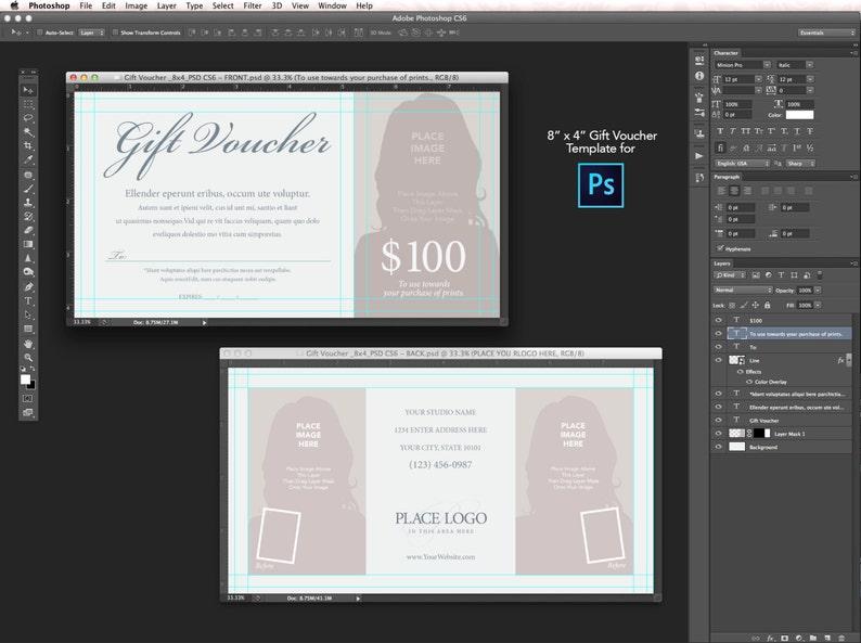 8 X 4 Modele De Bon De Cadeau Pour Photoshop Cs6 Etsy