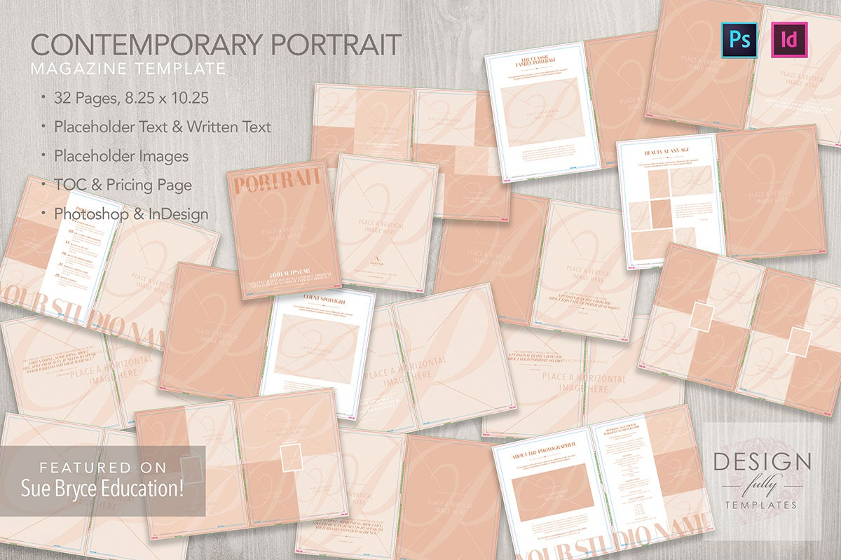 Contemporary Portrait Magazine Template ID CS4 & Up and