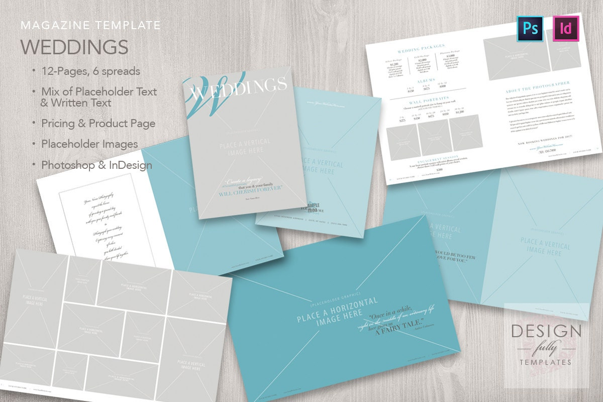 Wedding Magazine 12 Pages Template For Adobe Photoshop Etsy