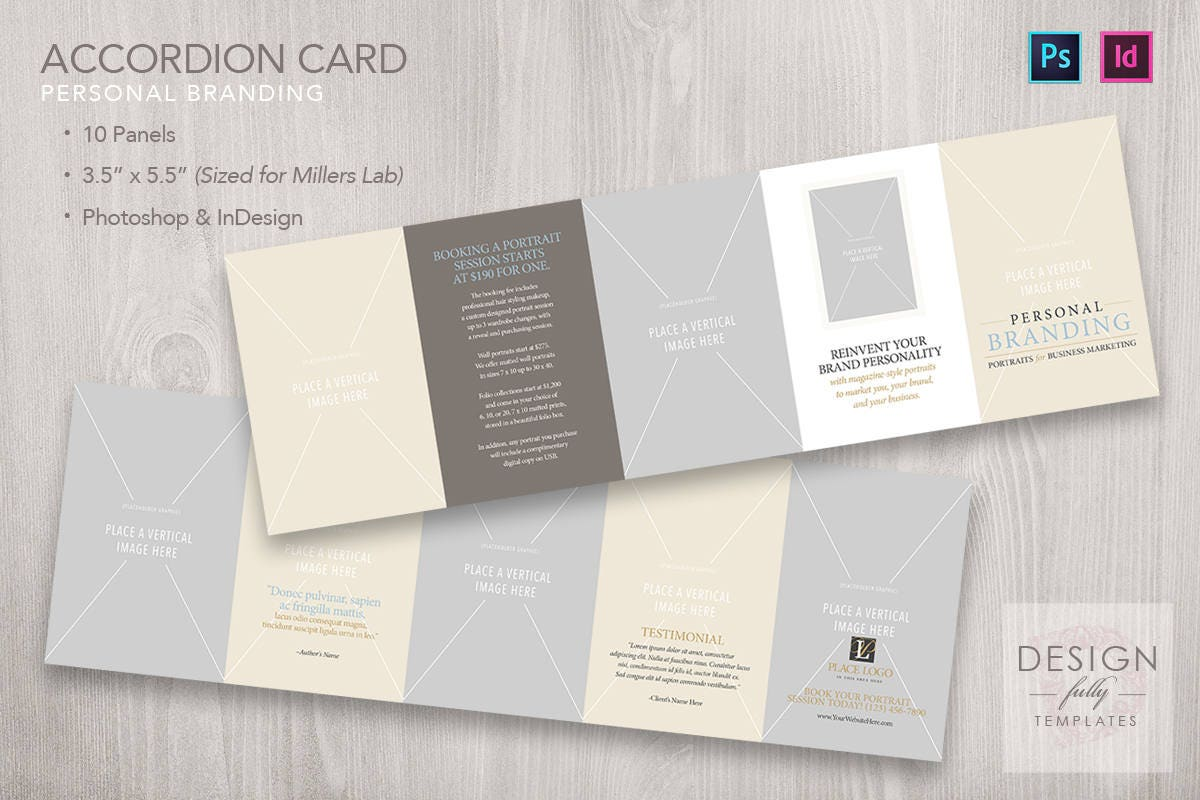 Accordion Card 10-Panel 3.5x5.5 Personal Branding Template