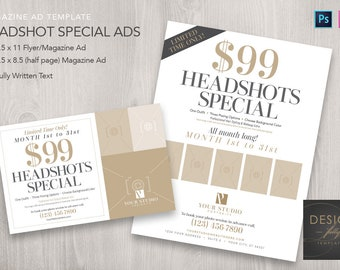 Headshots Special Magazine Ads (2 Sizes) - Template for ID CS4up & PSD CS6 - CC