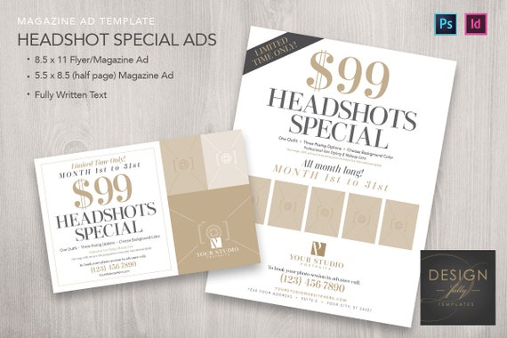 headshots special magazine ads 2 sizes template for id etsy