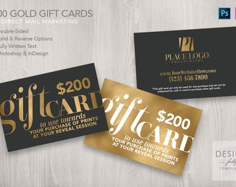 200 Dollar Gold Gift Cards - Template for PSD CS6up & ID CS4up