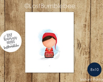 Portuguese Traditional Dress Printable from our Tiny Human Peoples Collection of Printable home decor by LostBumblebee, Size 8x10