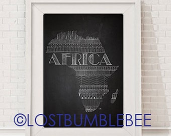 AFRICA Large INSTANT DOWNLOAD / Chalkboard 11x14 Poster Size Print / Africa / Hand Drawn / Sketch / LostBumblebee