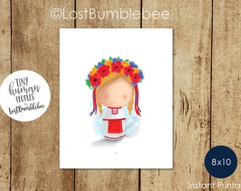 Tiny Human Peoples Ukrainian Culture, Printable home decor by LostBumblebee, Size: 8x10