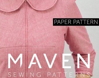 The Kitty Dress sewing pattern, PAPER PATTERN, dress sewing pattern, womens sewing pattern, PRINTED pattern, peter pan collar, printed paper