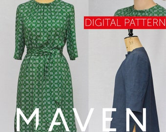 The Rochester Top and Dress PDF sewing pattern, DIGITAL DOWNLOAD, tunic pattern, womens pattern,top pattern,tunic pattern,dress pattern, pdf