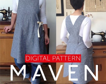 The Maria Wrap Apron PDF sewing pattern, Japanese apron, DIGITAL DOWNLOAD, womens pattern, apron pattern, pdf pattern, sewing pattern, apron