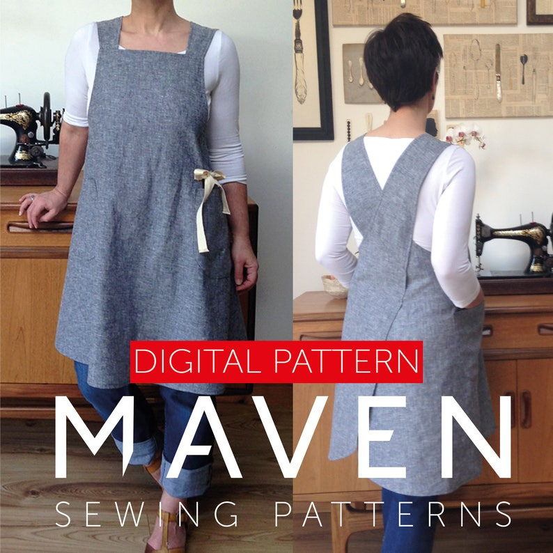 The Maria Apron PDF sewing pattern Pinafore style apron image 0