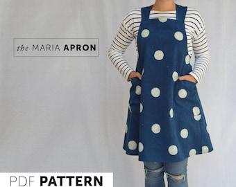 The Maria Apron PDF sewing pattern, Pinafore apron,cross-back apron,Instant DIGITAL DOWNLOAD,Artisan Apron, no tie apron