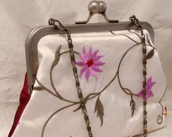 Ivory Silk Purse, Wedding Bridal Evening Clutch Bag, Embroidered Pink & Red Flowers, Red Silk back, Silk Lined, Antique Gold Kiss Snap Frame