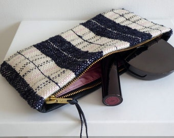 Black Leather and Tweed Zip Purse, Original One-Off Handwoven Silk Fabric, Real Leather, Pink Silk lining, Coins, Cosmetics, Glasses, phone