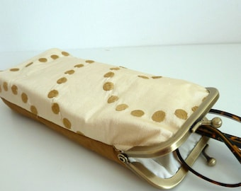 Glasses Case, Spectacles Case, Sunglasses, Phone, Tissue Holder, Embroidered Gold Spots on Cream Dupion Silk, Silk Lining, Bronze Snap Frame
