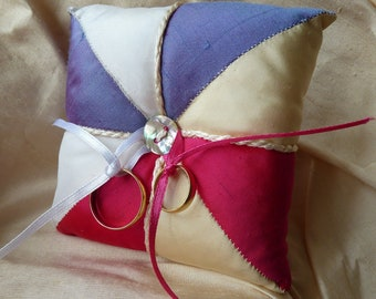 Wedding Ring Cushion, Silk Ring Pillow, Pin Cushion, Funky Wedding Accessory, Bright Pink and  Purple Patchwork Silk, Can be Personalised