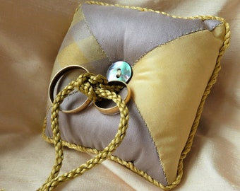 Wedding Ring Cushion, Silk Ring Pillow, Pin Cushion, Funky Wedding Accessory, Gold and Lilac Plaid Patchwork Silk, Can be Personalised