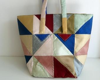 Patchwork Project Bag, Multicoloured Fabric Tote, Knitting Holder, Crochet Storage, Yarn Storage, Multipurpose bag, Craft, Inner Zip Pocket