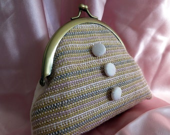 Wedding Party Purse, Unique Pink Handwoven Silk, One of a Kind, Silk Lined, Antique Gold Snap Frame, Handmade Silk Buttons, Bridesmaid, Gift