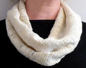 Snuggly Soft Silk Cream Cowl Scarf with matching Ear Warmer Headband, Hand Crocheted Silk, Stay Warm this Winter! Christmas, Birthday gift