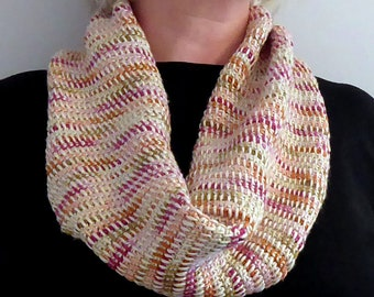 Soft Silk Cowl Scarf, Hand Crocheted Silk, Autumnal Colours, Snuggly and Warm!