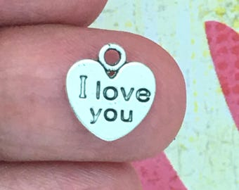BULK 100 Silver I Love You Heart Charm 12x11mm by TIJC SP0115B