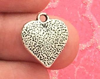 12 Silver Heart Charm Pendant SP0296