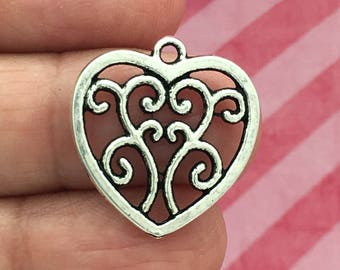 8 Silver Filigree Heart Charm Pendant SP0121