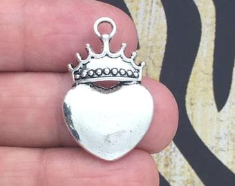 5 Silver Heart Crown Charm Pendant SP0325