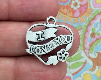 BULK 30 I Love You Heart Charm Silver SP0973B
