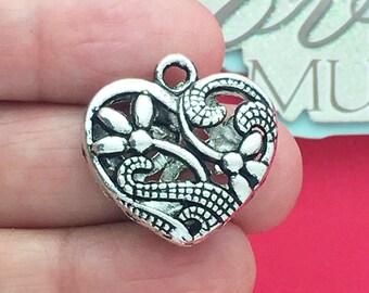 2 Silver Heart Charm Pendant SP0670