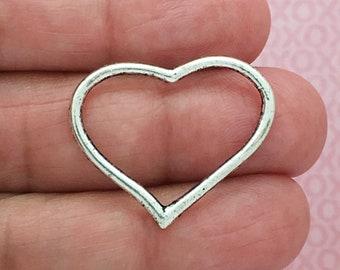 8 Silver Open Heart Charm Pendant SP0070