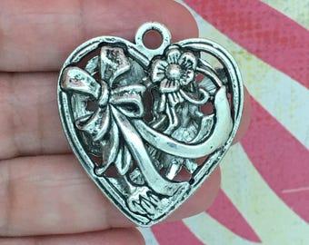 1 Silver Heart Charm Pendant SP0114