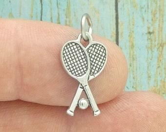 Cute Sterling Silver Tennis Racket Charm Ready for Charm Bracelet #tennisracketcharmforcharmbracelet