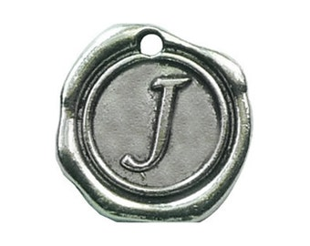 Bulk--5pcs of Wax Seal Antique Silver Initial Alphabet Letter Z  Charm Pendants 18x18mm