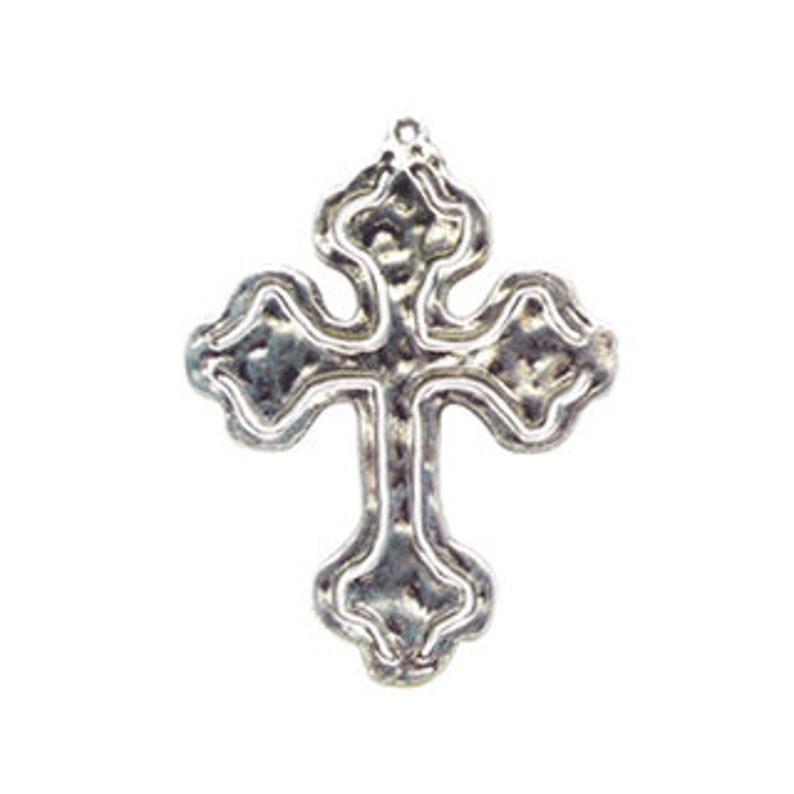 2 Hammered Cross Charm Pendant Silver by TIJC SP0658