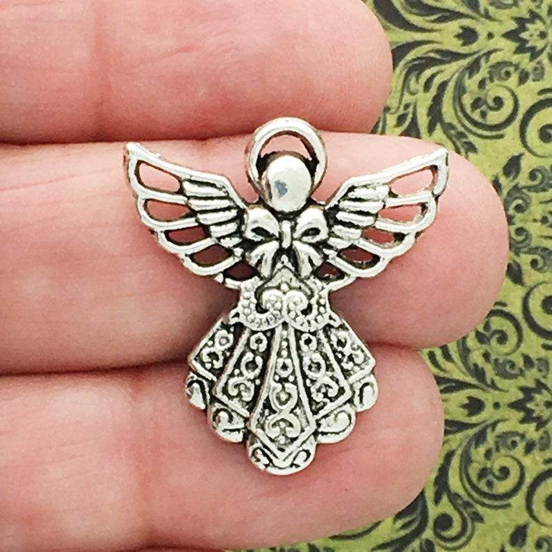 6 Filigree Silver Angel Charm Pendant by TIJC SP0088 image 0