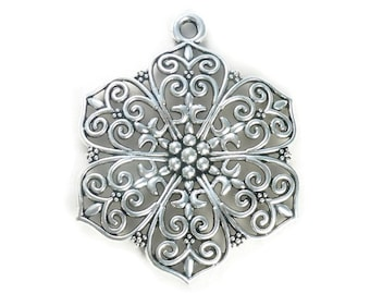 1 Filigree Silver Flower Charm Pendant SP0808