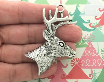 2 Silver Deer Head Charm Pendant SP0992