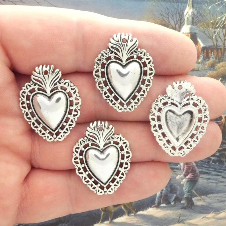 12 Silver Southwest Heart Charms Bulk by TIJC SP2041B