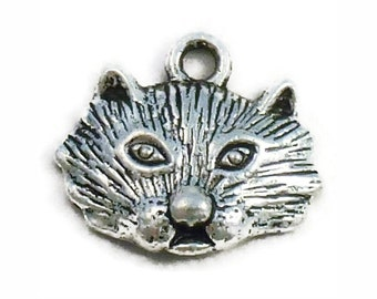 8 Silver Cat Charm Pendant 16x19mm by TIJC SP0966