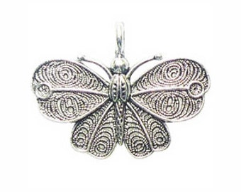 3 Silver Butterfly Moth Charm 32x42mm by TIJC SP0841